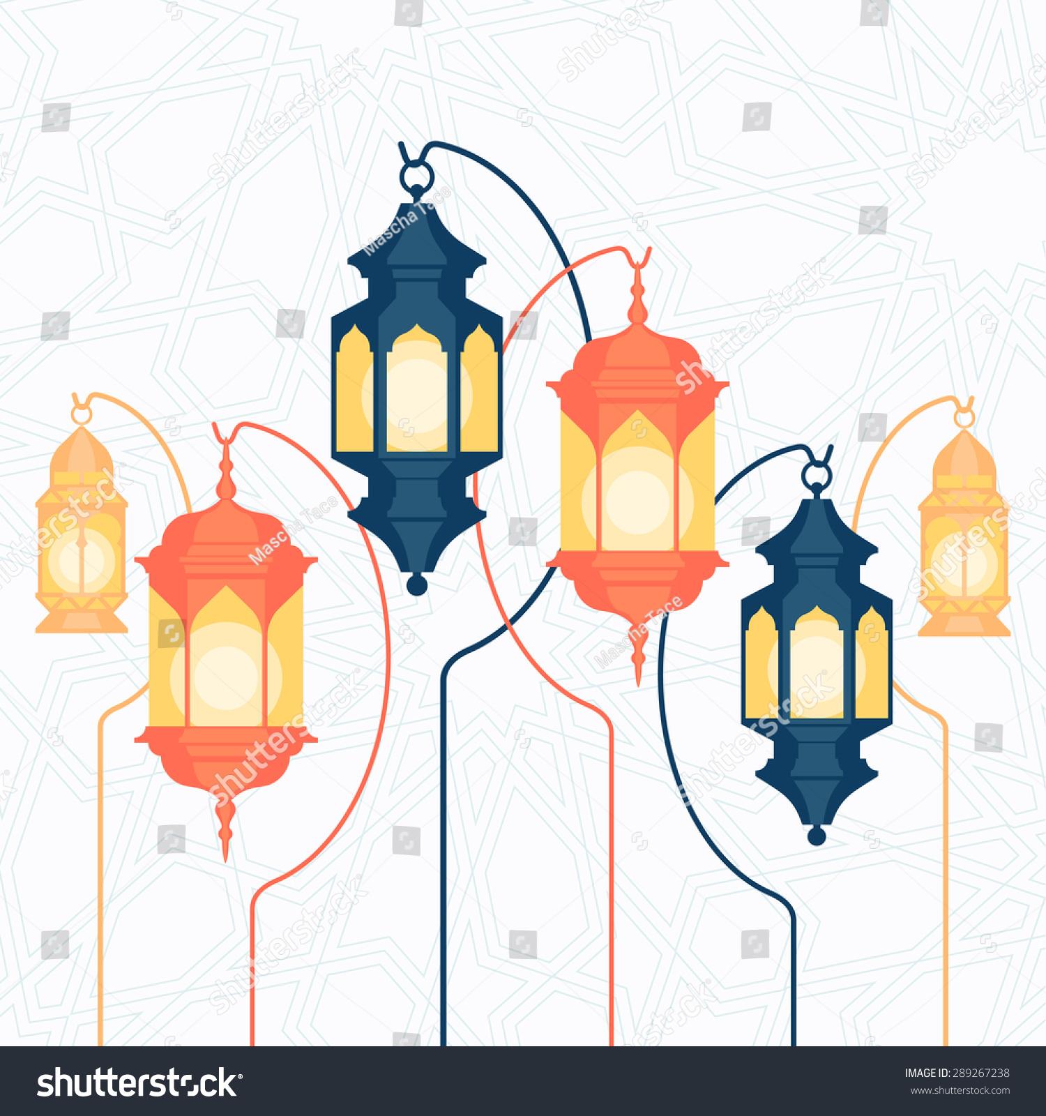 Beautiful Vector Ramadan Lanterns Illustration Traditional Stock Vector