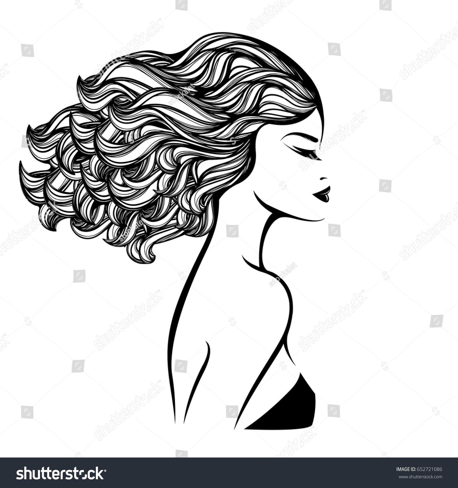 Beautiful Woman Nice Makeup Curly Hair Stock Vector