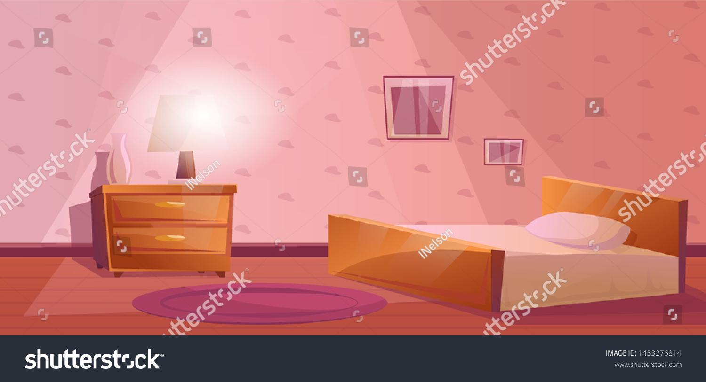 Bedroom Bed Nightstand Lamp Vase Purple Stock Vector