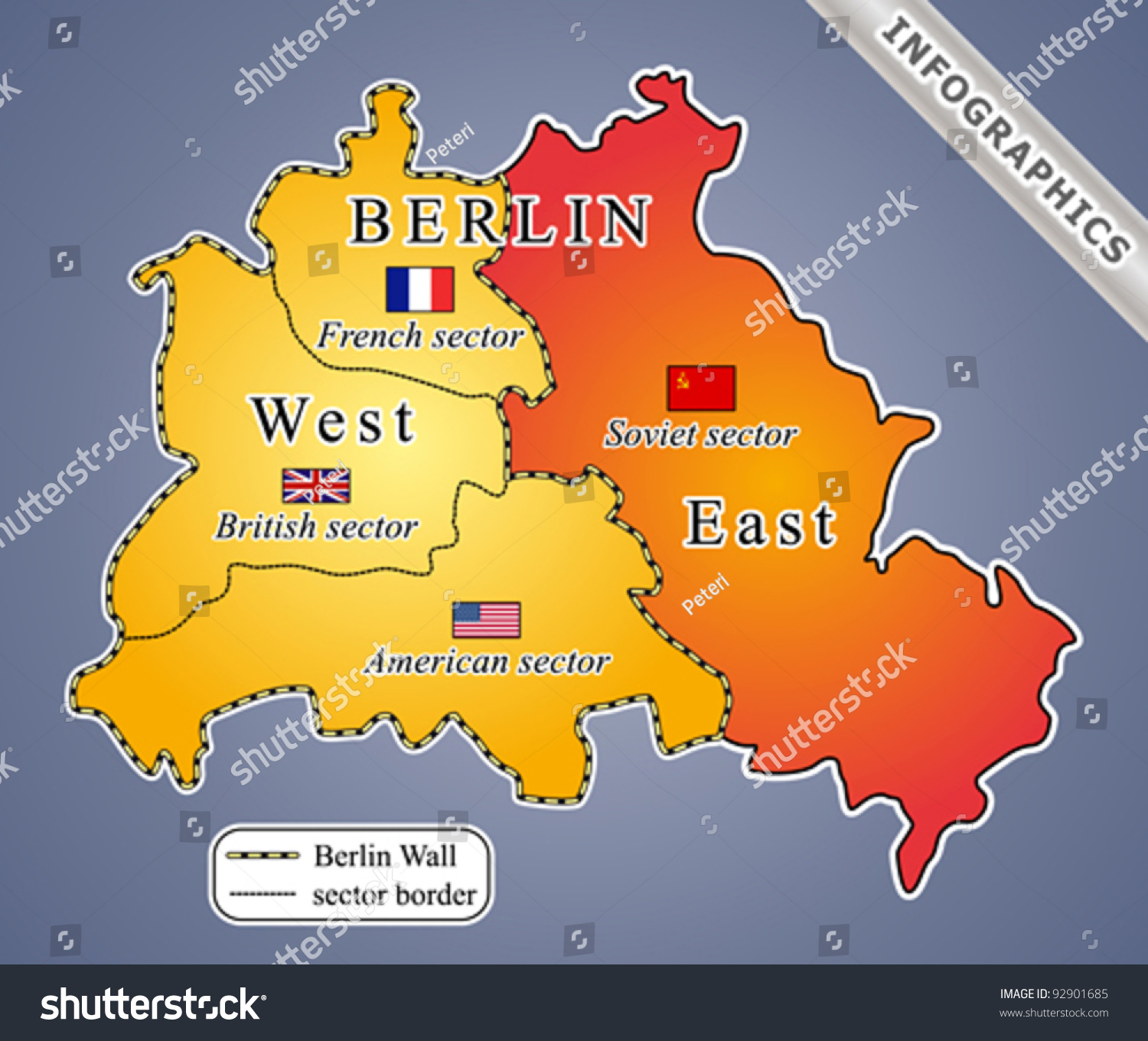Berlin Map During Cold War Including Stock Vector