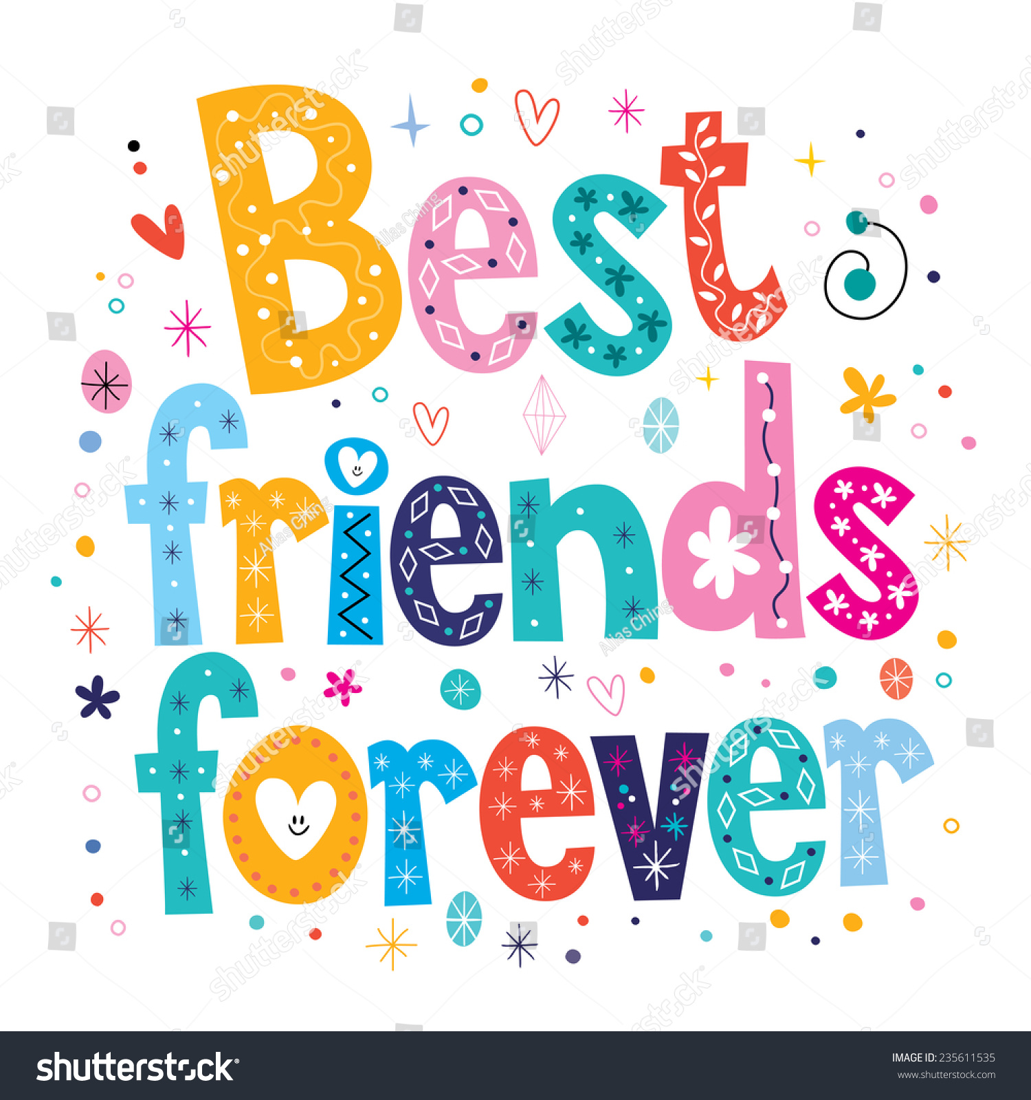 Best Friends Forever Stock Vector Royalty Free 235611535