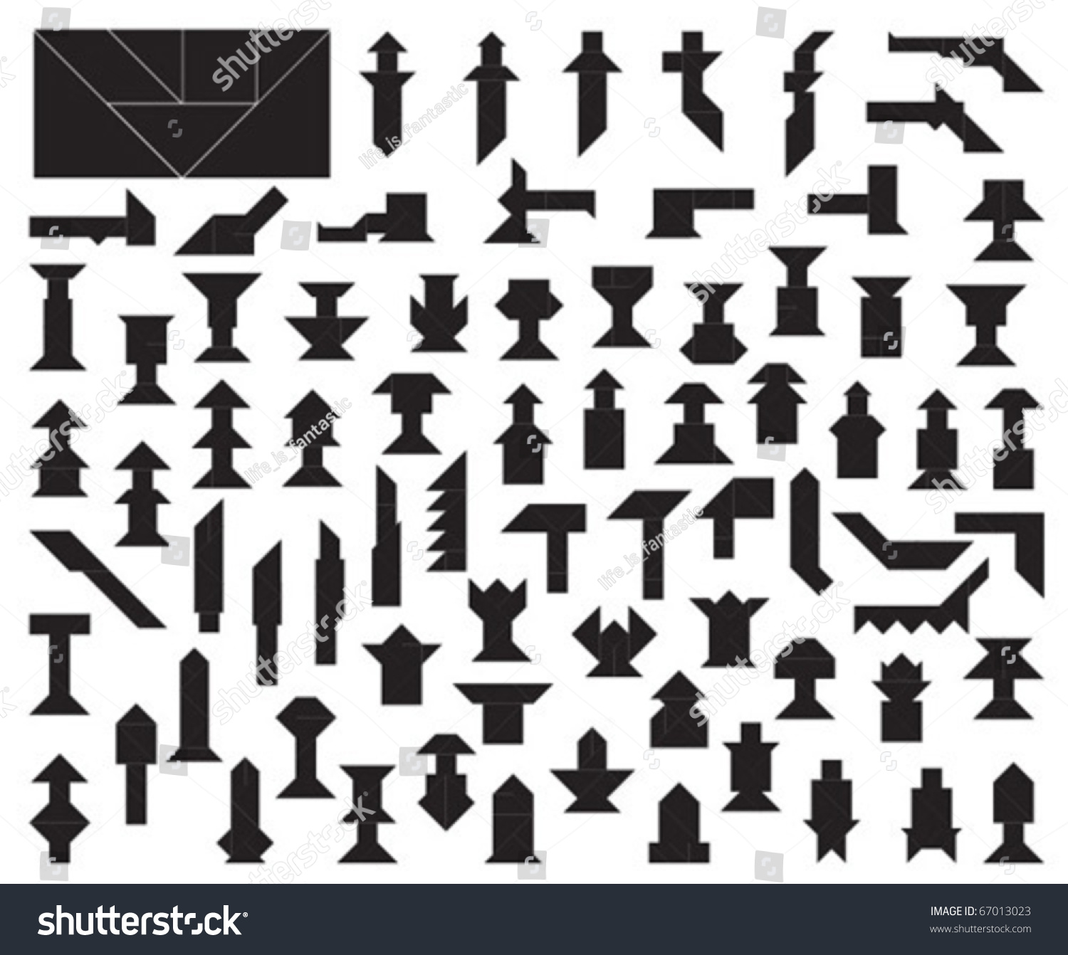 Big Collection Tangram Tool Weapon Silhouettes Stock