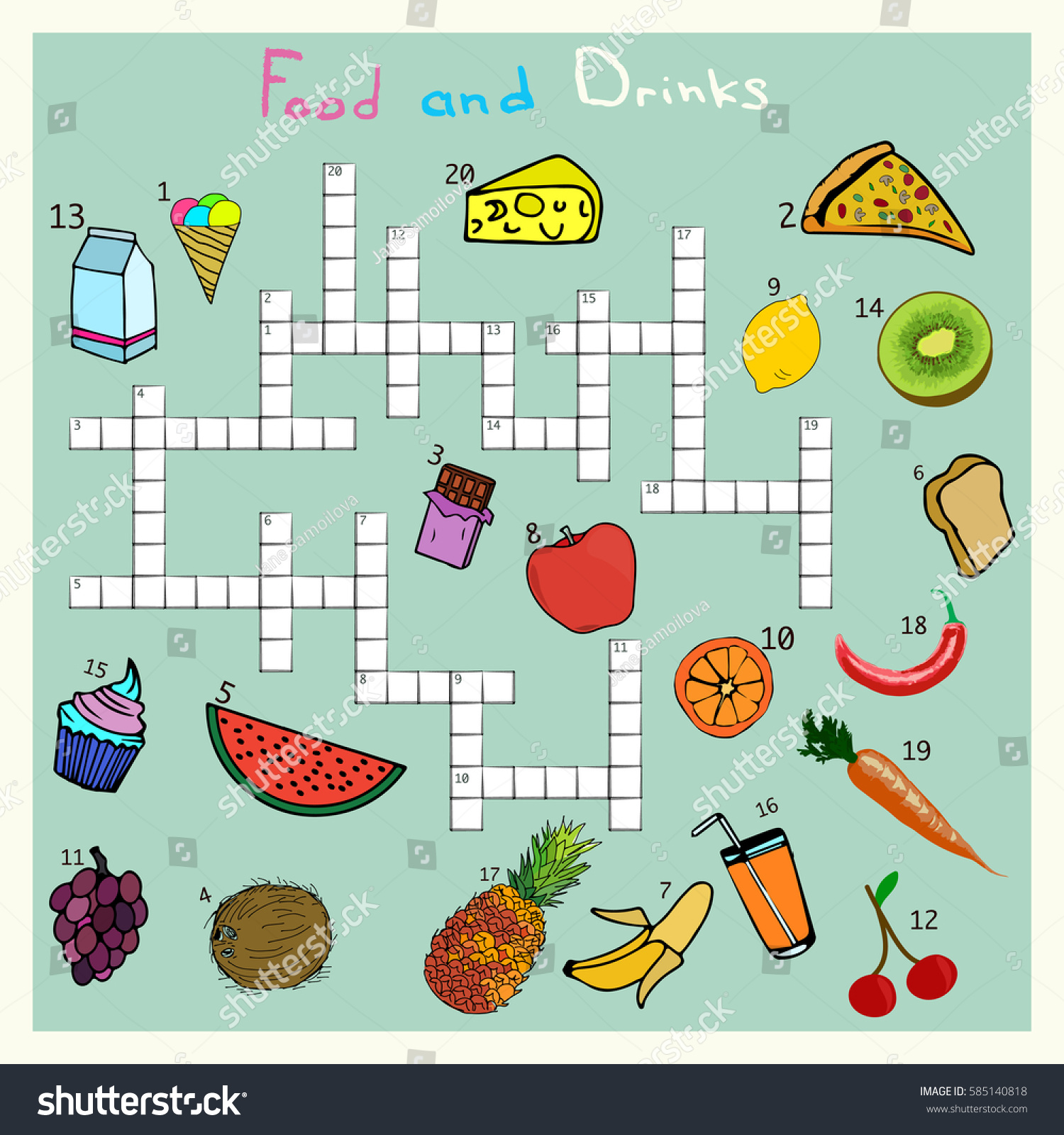 Big Food Drink Crossword Words Game Stock Vector