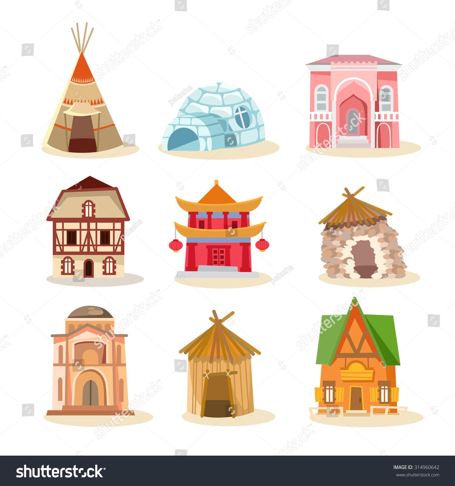 Big Set Traditional Houses Around World Stock Vector