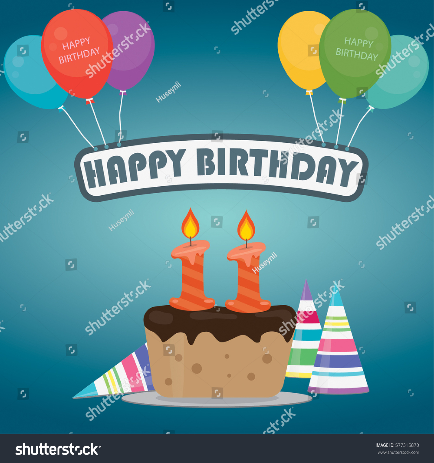 https www shutterstock com image vector birthday cake candle number 11 flat 577315870