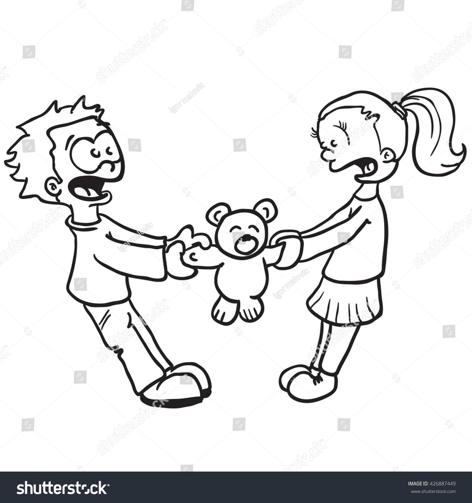 Black White Boy Girl Fighting Cartoon Stock Vector