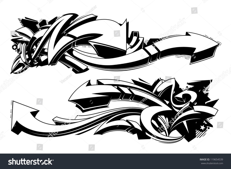 Black White Graffiti Backgrounds Horizontal Graffiti Stock