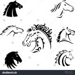 Black White Horse Head Design Set Stock Vector Royalty Free 1553583413