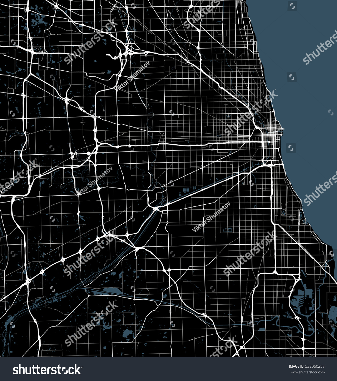 Illinois Geography Black And White