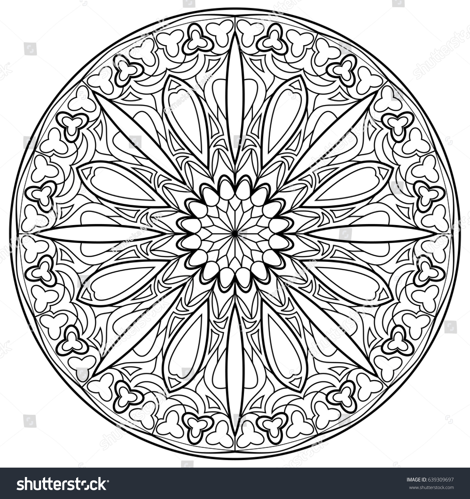 Black White Page Coloring Fantasy Drawing Stock Vector