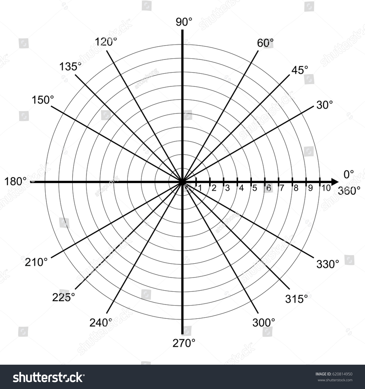 Blank Polar Graph Paper Protractor Pie Stock Vector