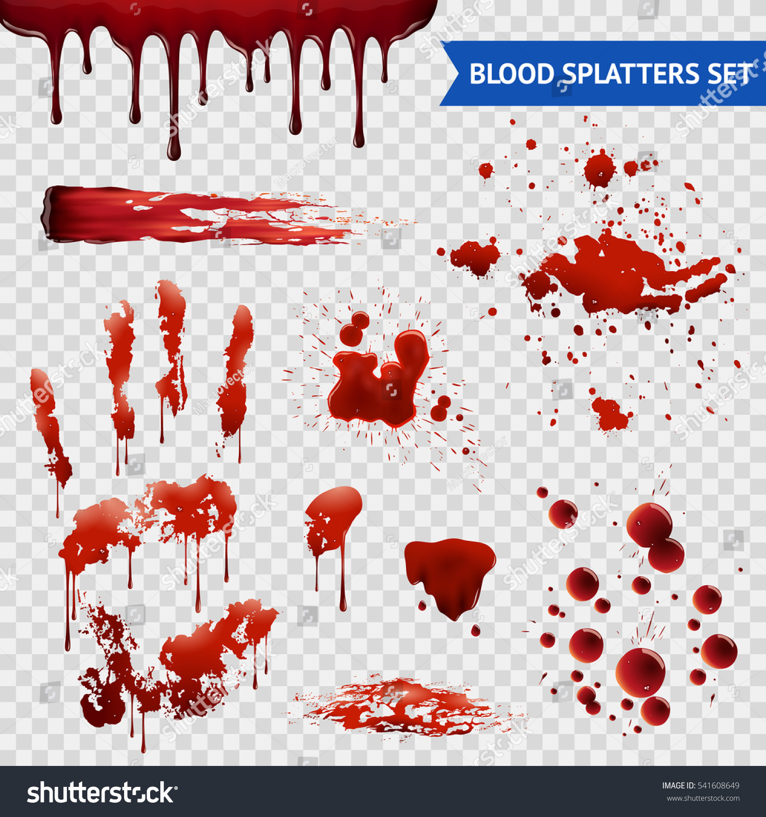 Blood Spatters Realistic Bloodstains Patterns Set Stock