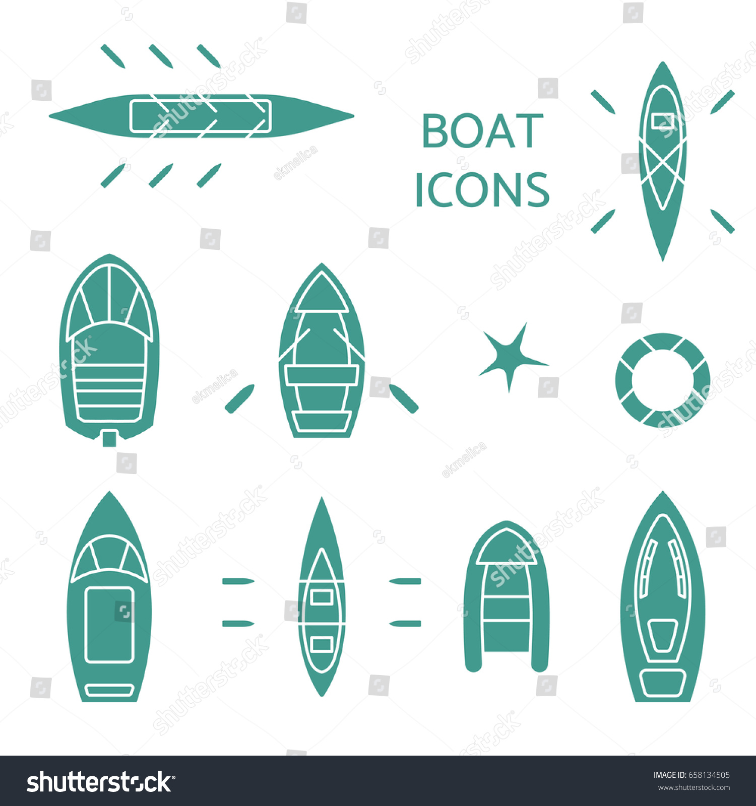 Boat Icons Set Top View Contour Stock Vector