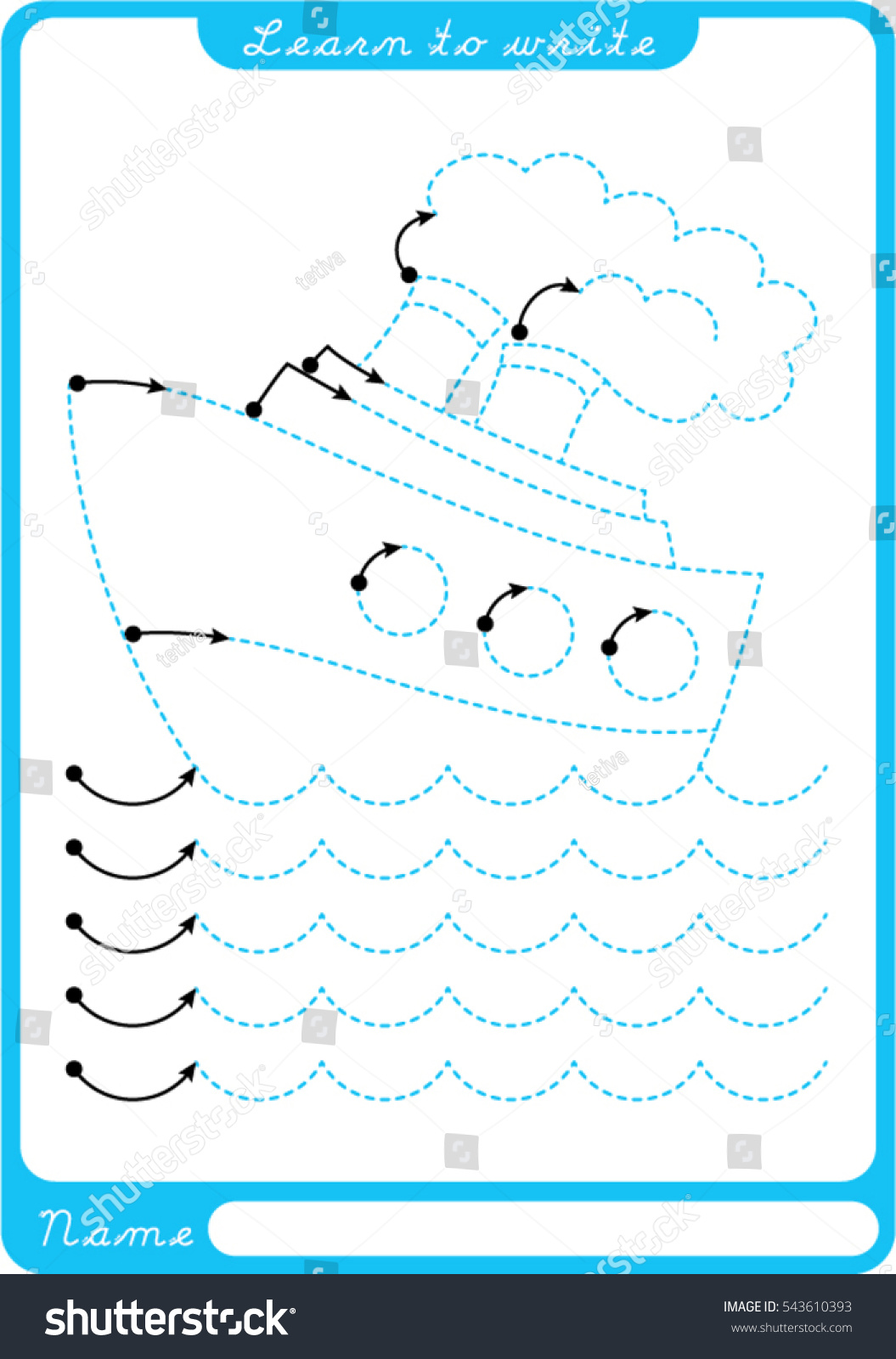 Boat Sea Waves Preschool Worksheet Practicing Stock Vector