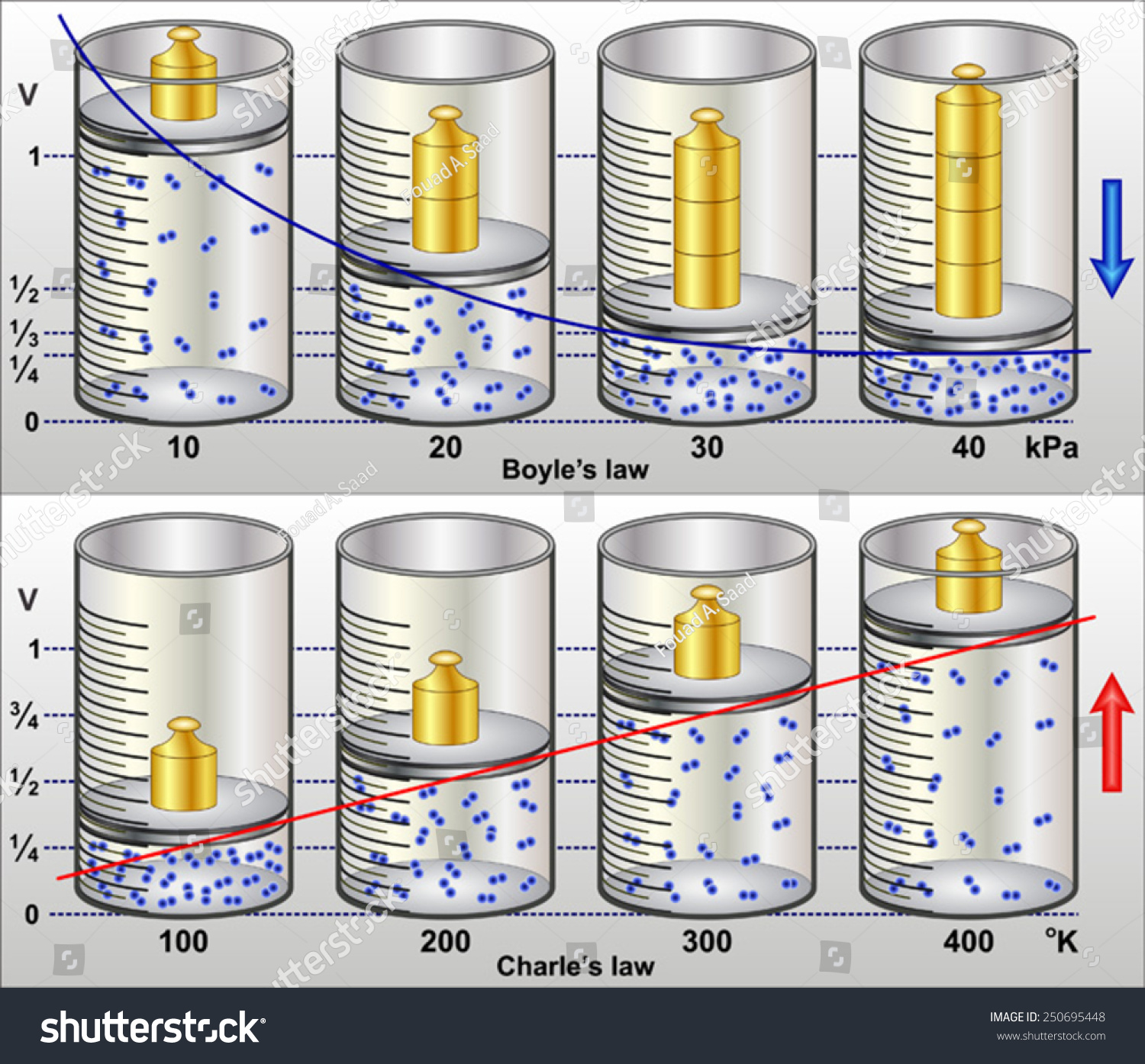Boyles Law Charless Law Stock Vector