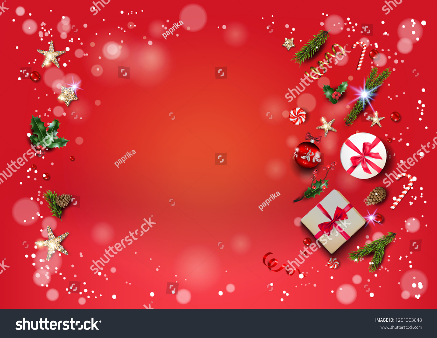 Bright Red Holiday Illustration Card Christmas Stock Vector