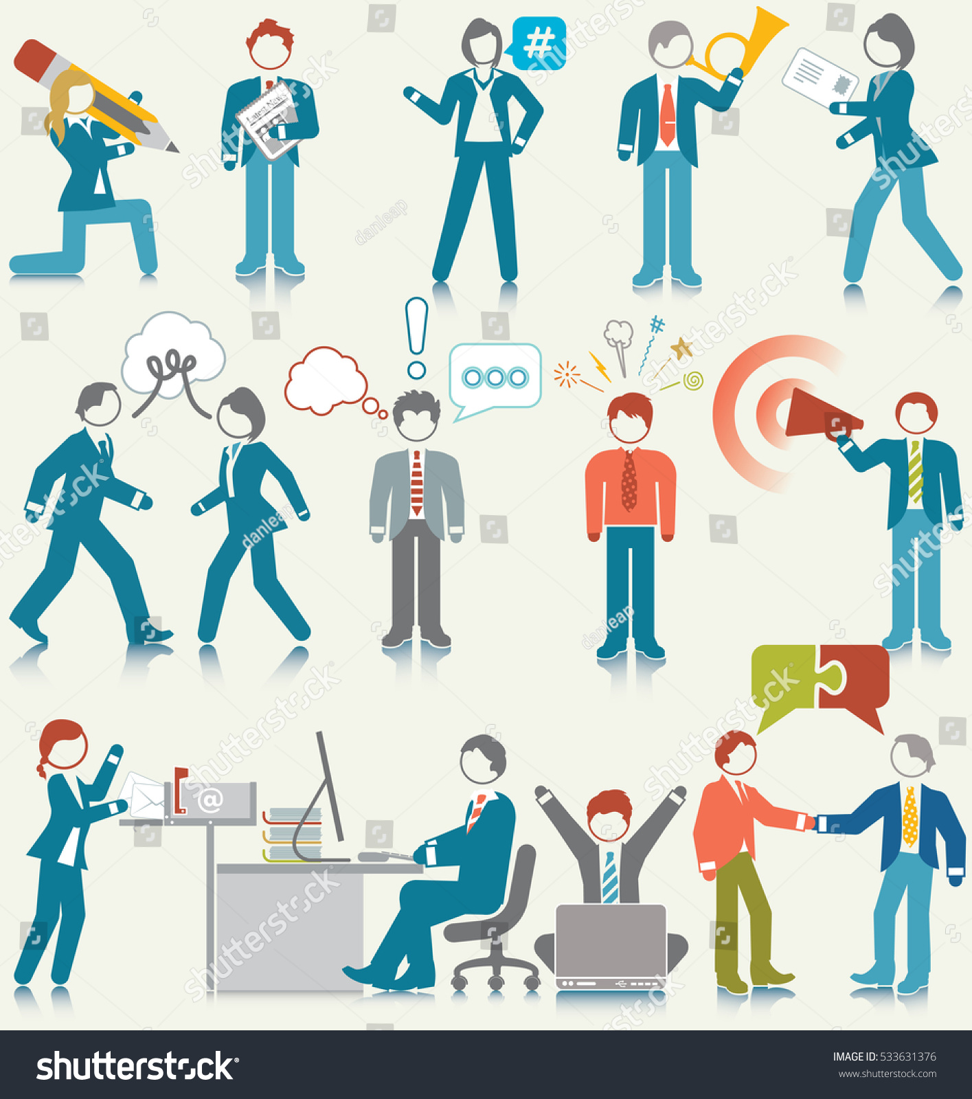 Business People Communication Activities Icon Set Stock