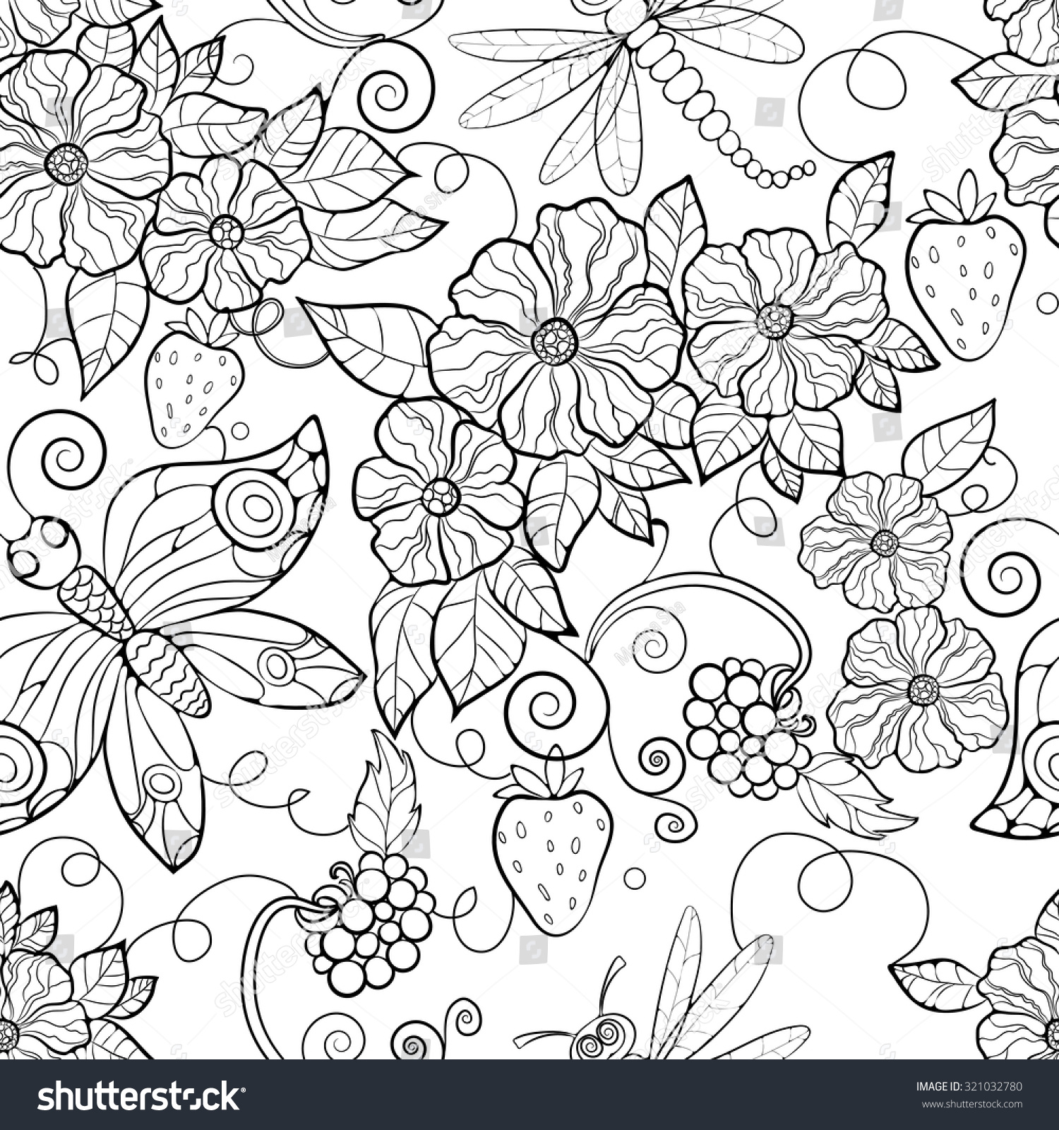 Butterfly Pattern Flowers Coloring Pages Adults Stock ... | flower coloring pages for adults