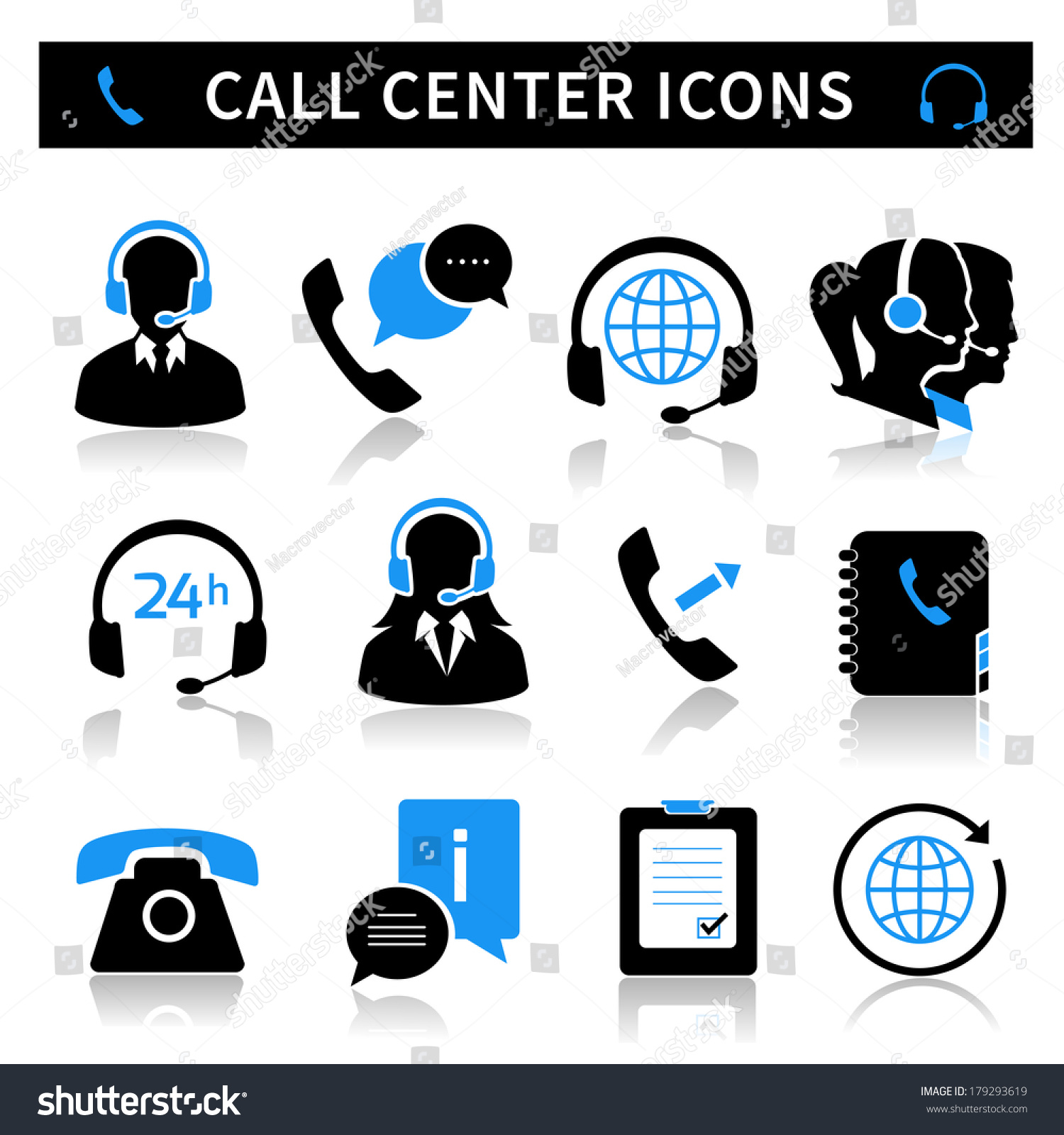 Call Center Service Icons Set Contacts Stock Vector