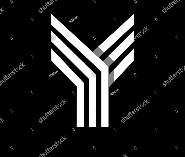 Capital Letter Y Made Of Of Three White Stripes Overlapping With Shadows Logo