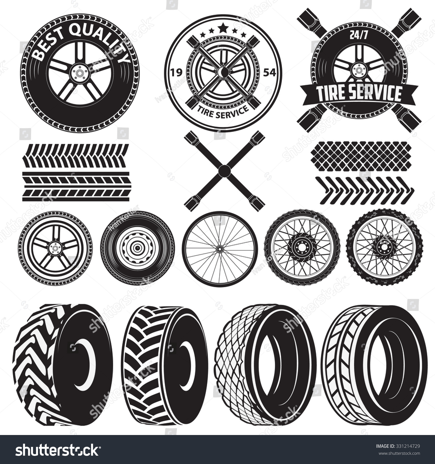 Car Service Labels Tire Service Label Auto Parts Set Of Design Elements In Vector