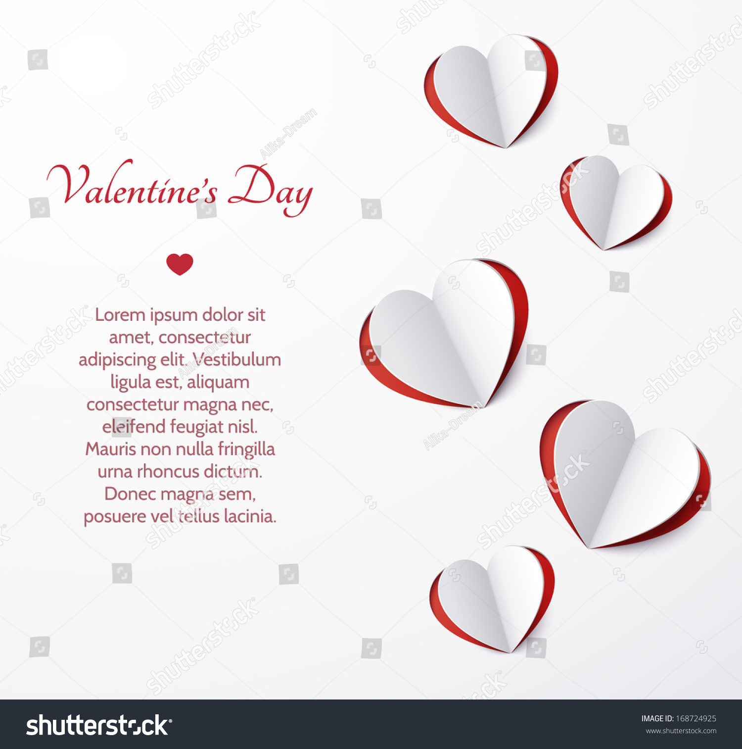 Card With Hearts Cut Out Of Paper Valentine S Day
