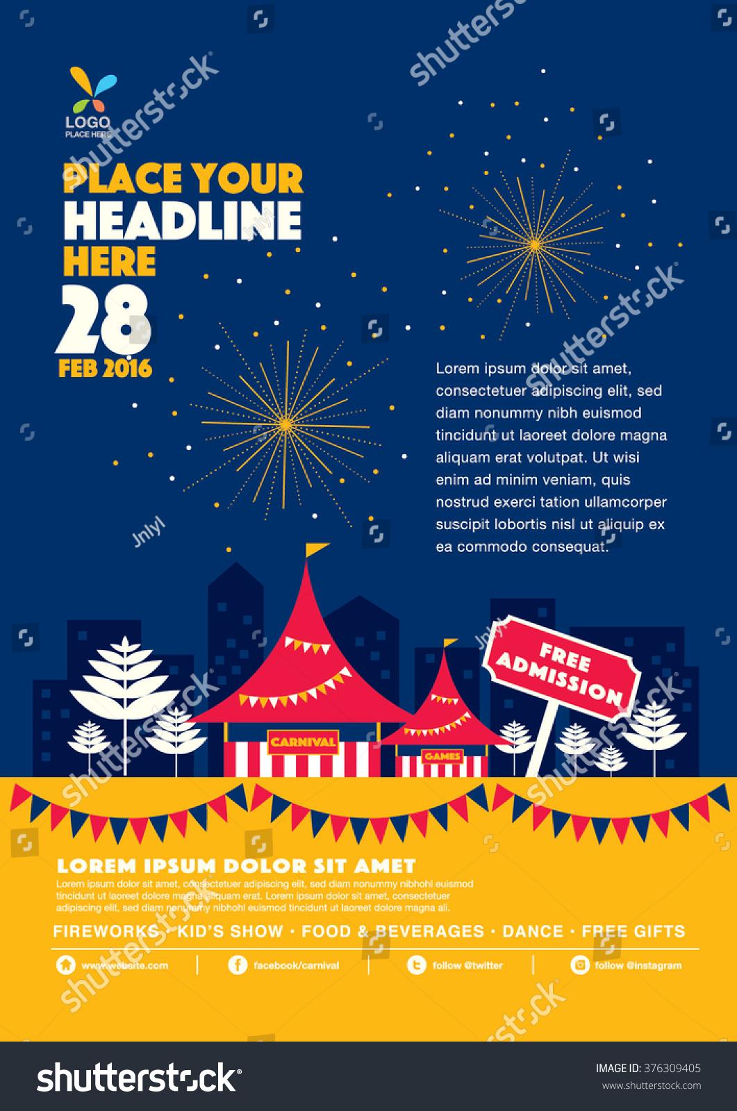 Carnival Theme Template Design Invitation Amusement Park