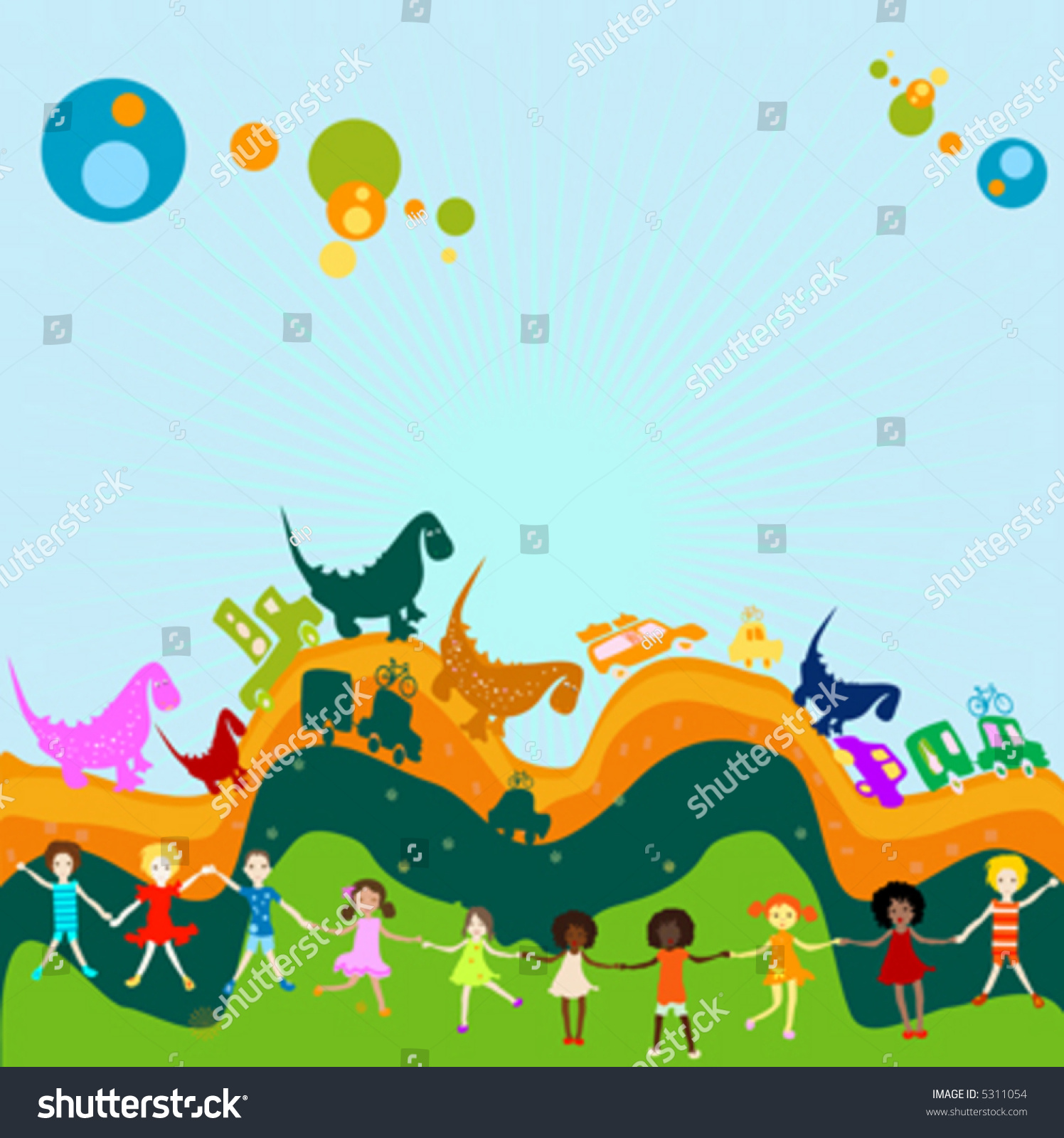 Cars Dinosaurs And Children Group Of Kids Playing In A