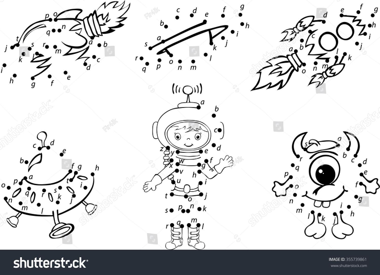 Cartoon Astronaut Alien Rockets Planets Vector Stock