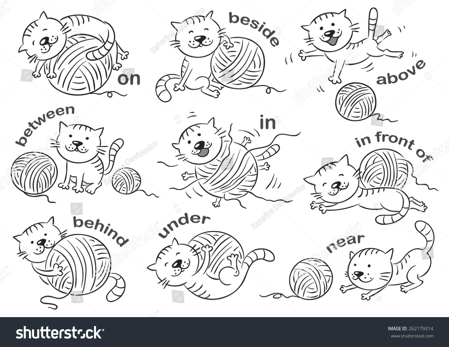 Cartoon Cat Different Poses Illustrate Prepositions Stock