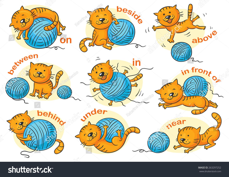 Cartoon Cat Different Poses Illustrate Prepositions Stock