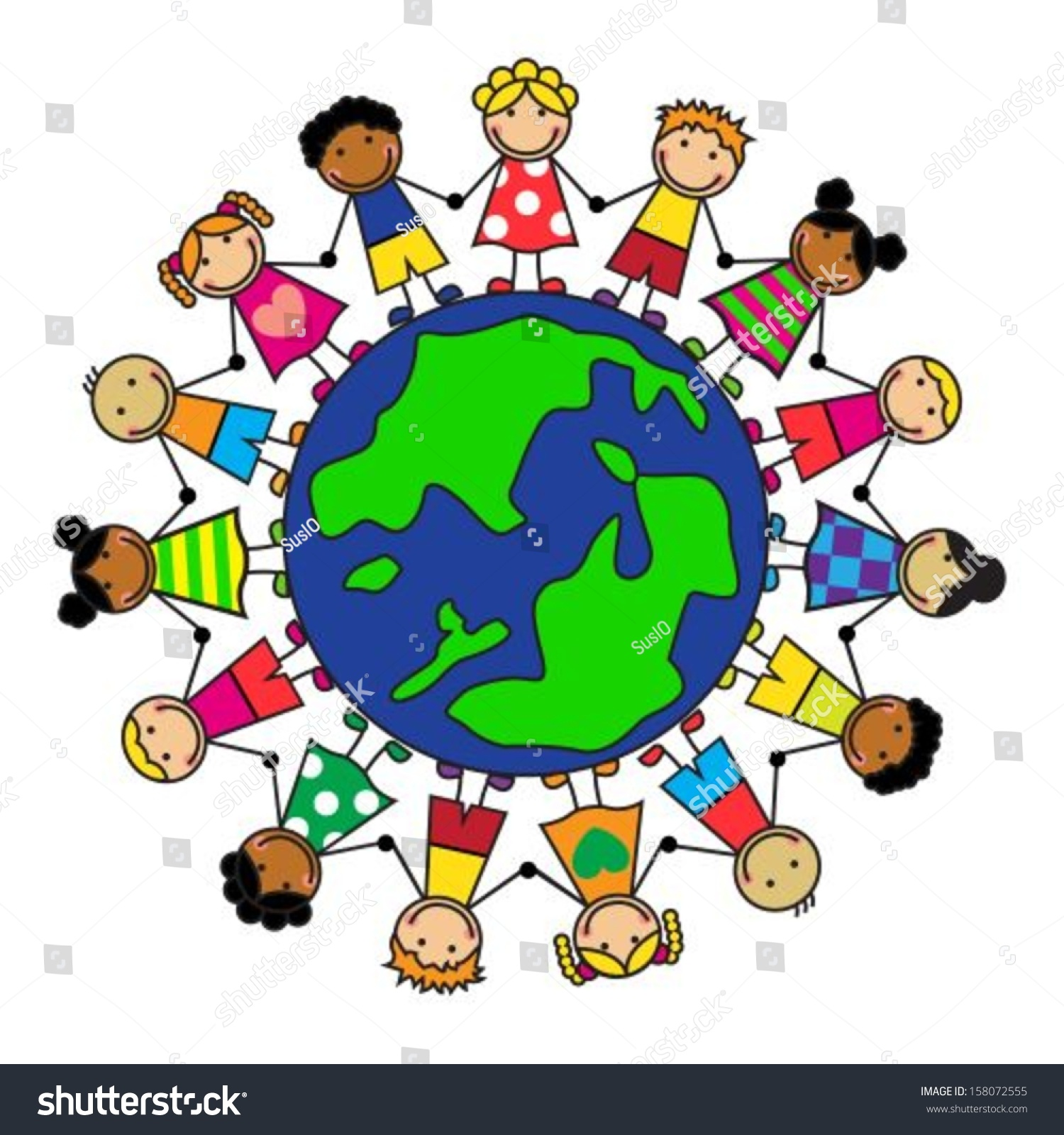 Cartoon Children Different Nationalities On Planet Stock
