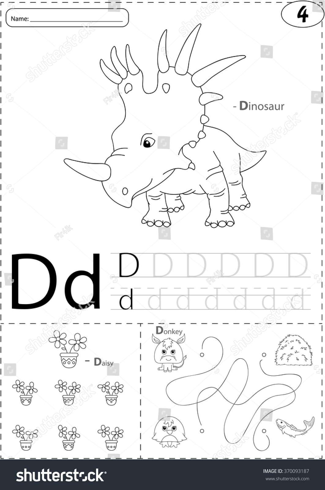Cartoon Dinosaur Daisy Donkey Alphabet Tracing Stock