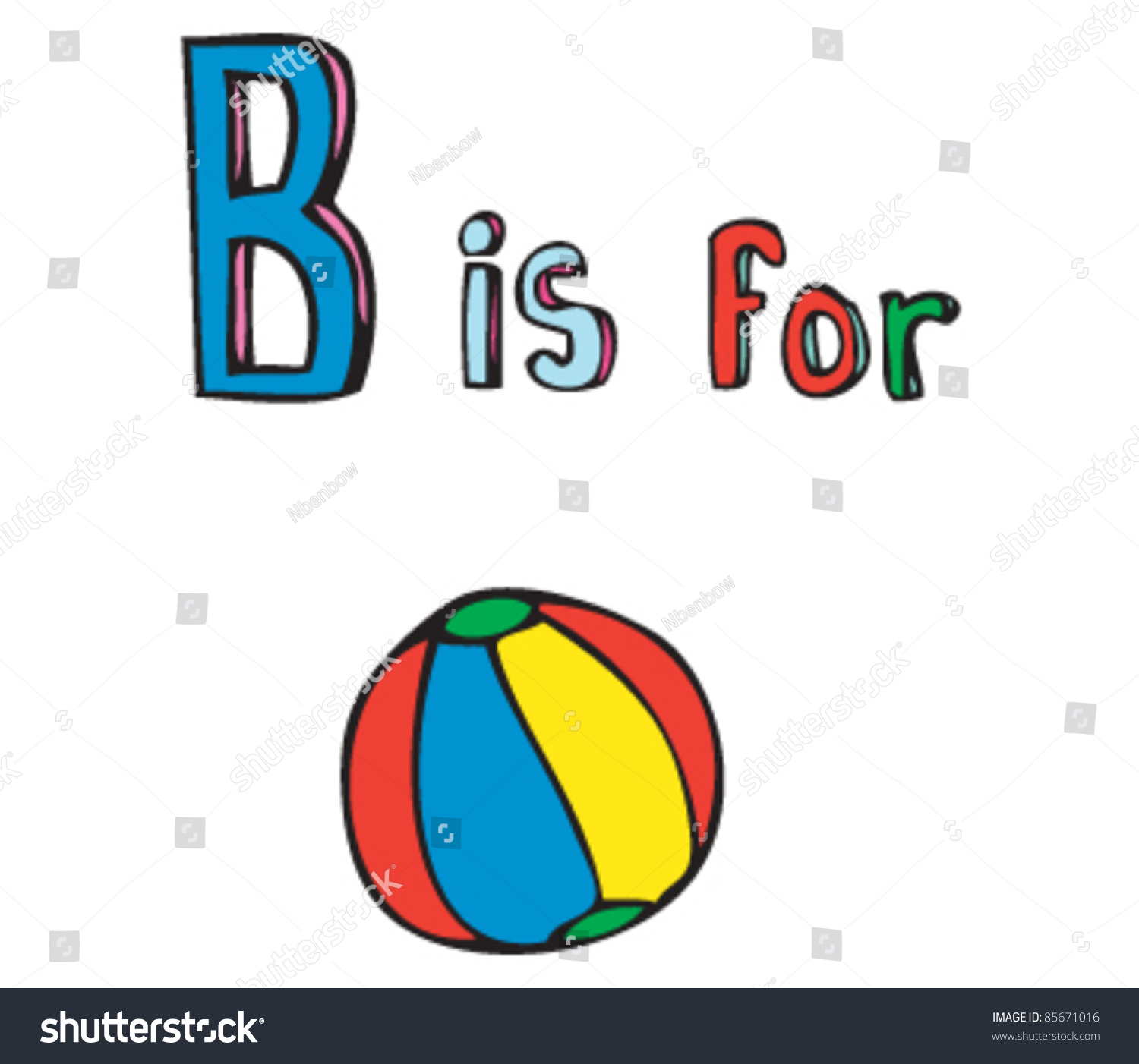 Cartoon Drawing Of Letter B Is For Ball Stock Vector