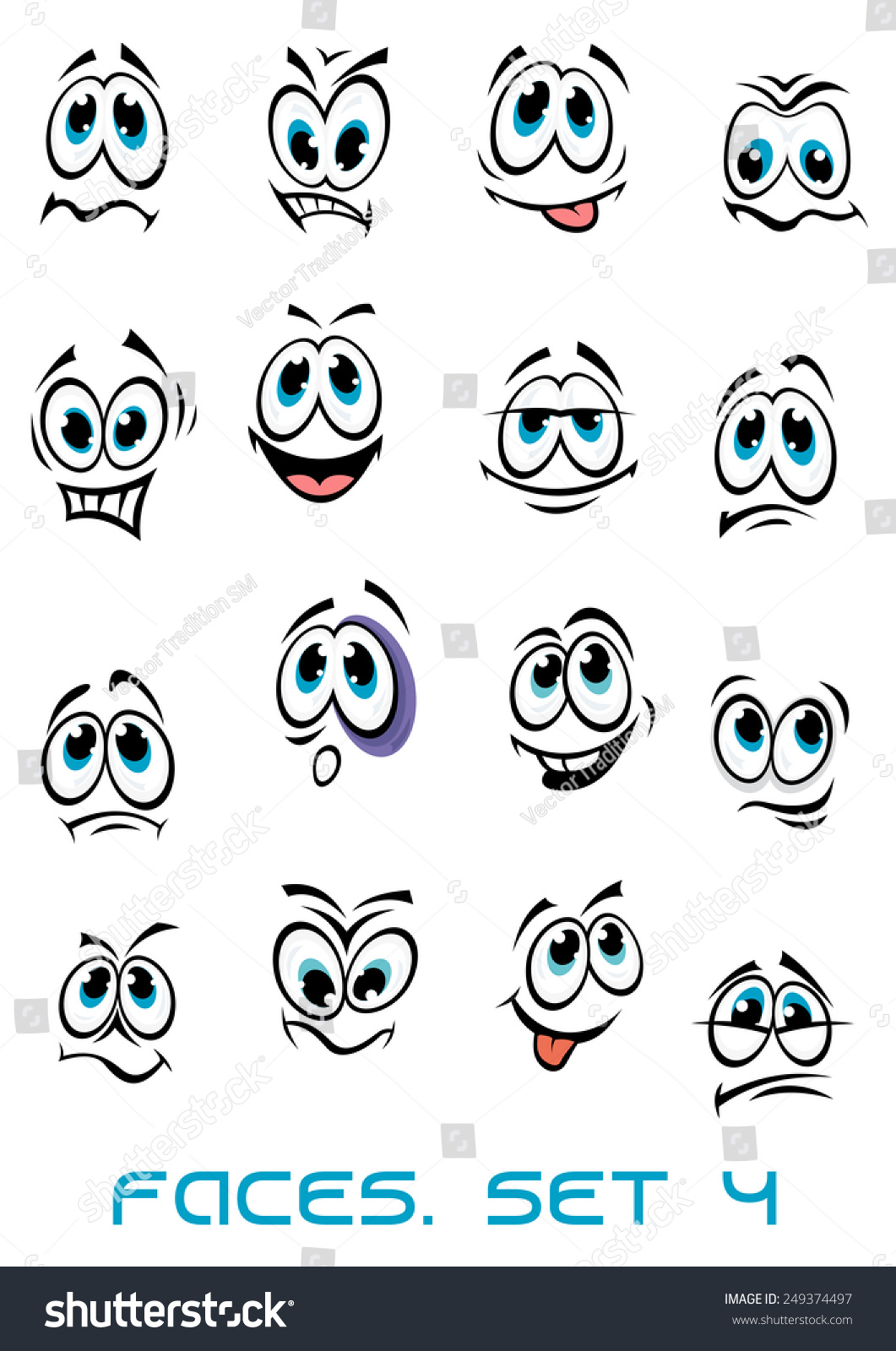 Cartoon Faces Set Different Emotions Happy Stock Vector