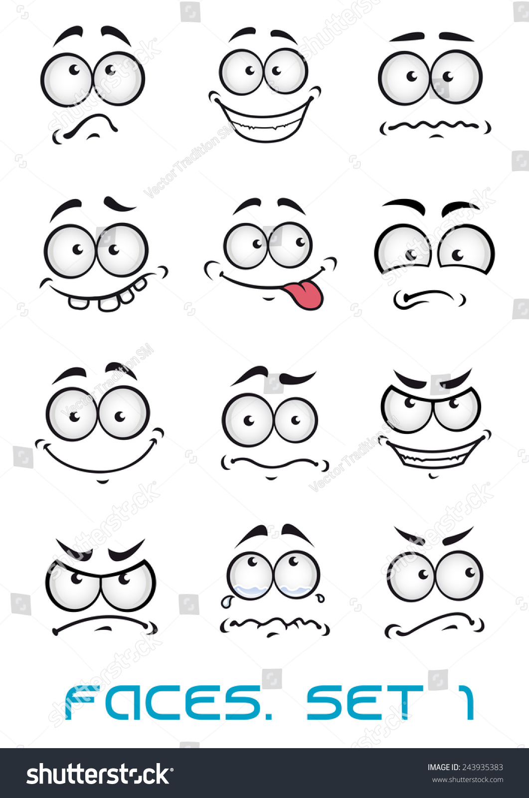 Cartoon Faces Different Emotions Happiness Joyful Stock