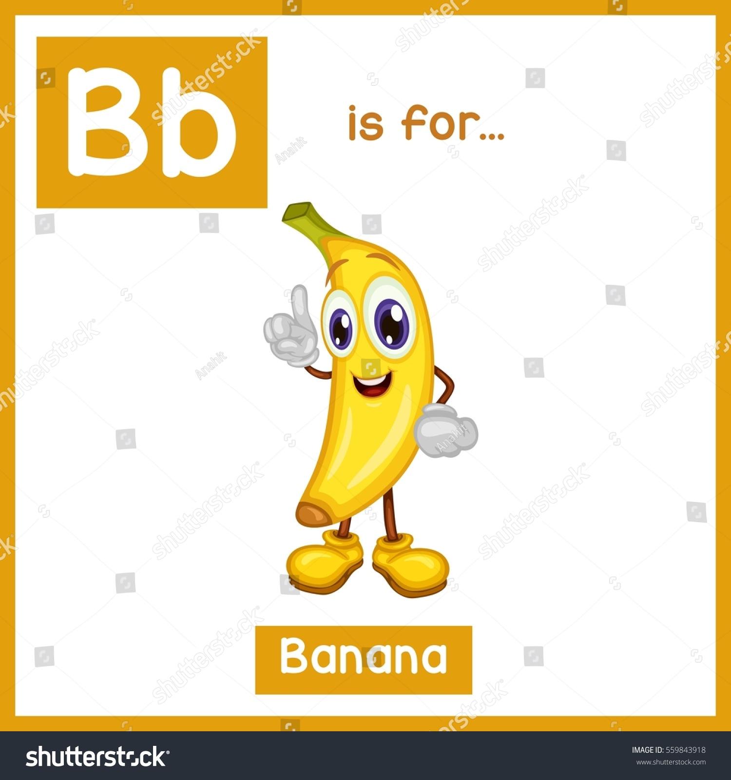 Cartoon Fruit Alphabet Flashcard B Banana Stock Vector
