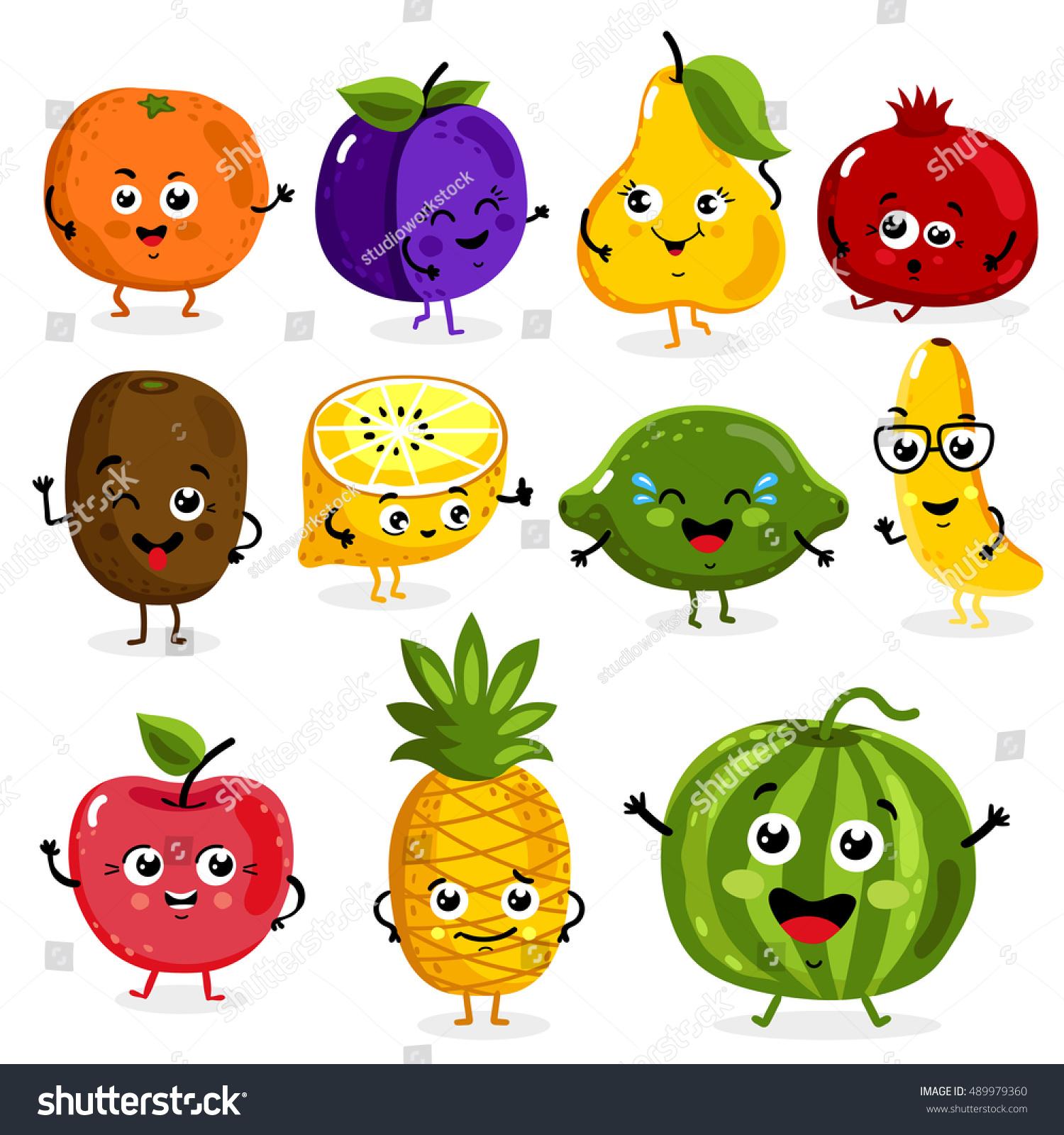 Cartoon Funny Fruits Characters Fruits Face Stock Vector