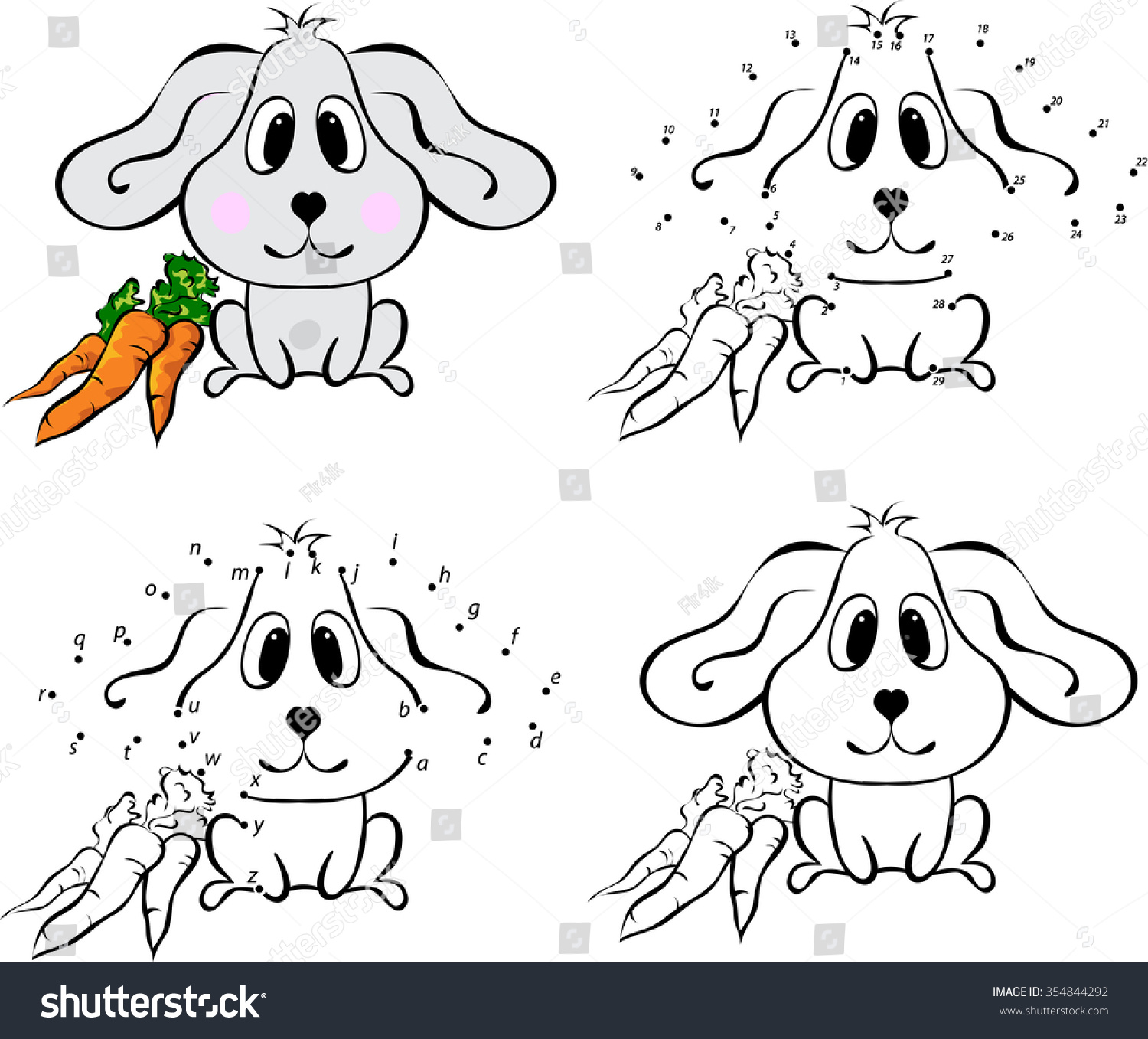 Cartoon Hare Carrot Vector Illustration Coloring Stock
