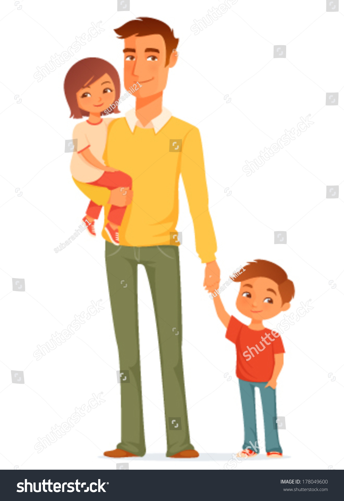 Cartoon Illustration Single Young Father His Stock Vector ... (1100 x 1600 Pixel)