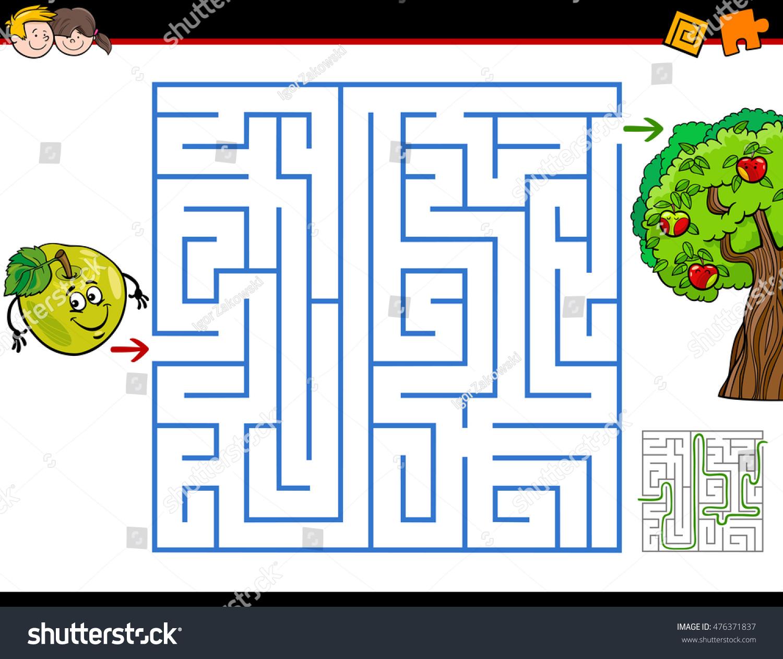 Cartoon Illustration Education Maze Labyrinth Activity Stock Vector