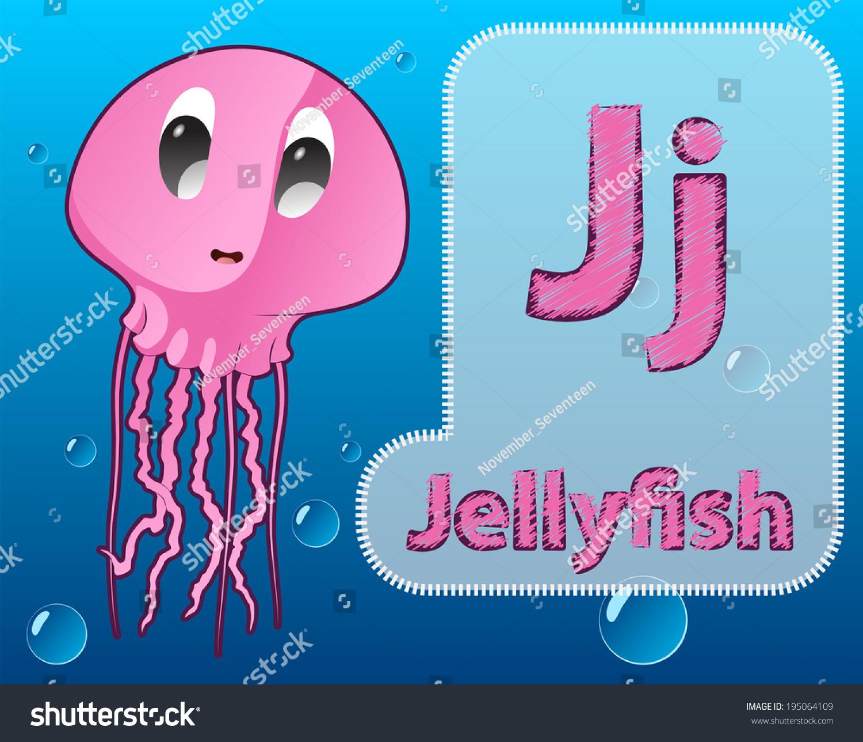 Cartoon Jellyfish Alphabet Zoo Card Kids Stock Vector