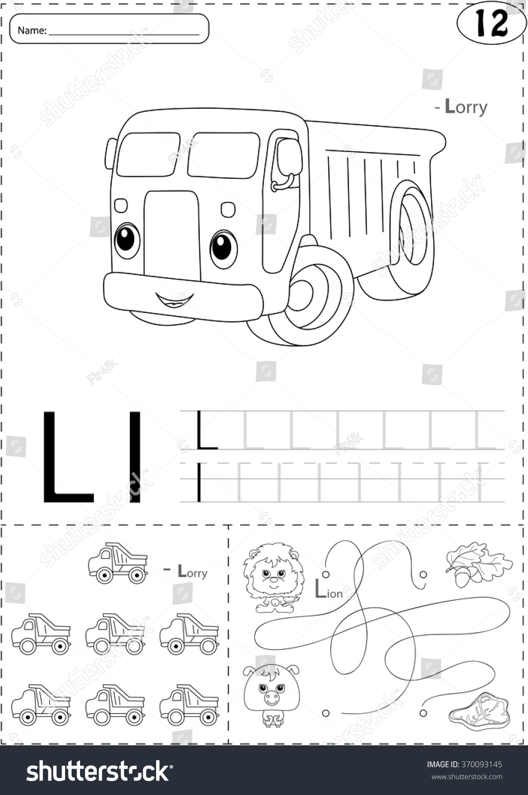 Fire Truck Tracing Worksheet For Preschoolers