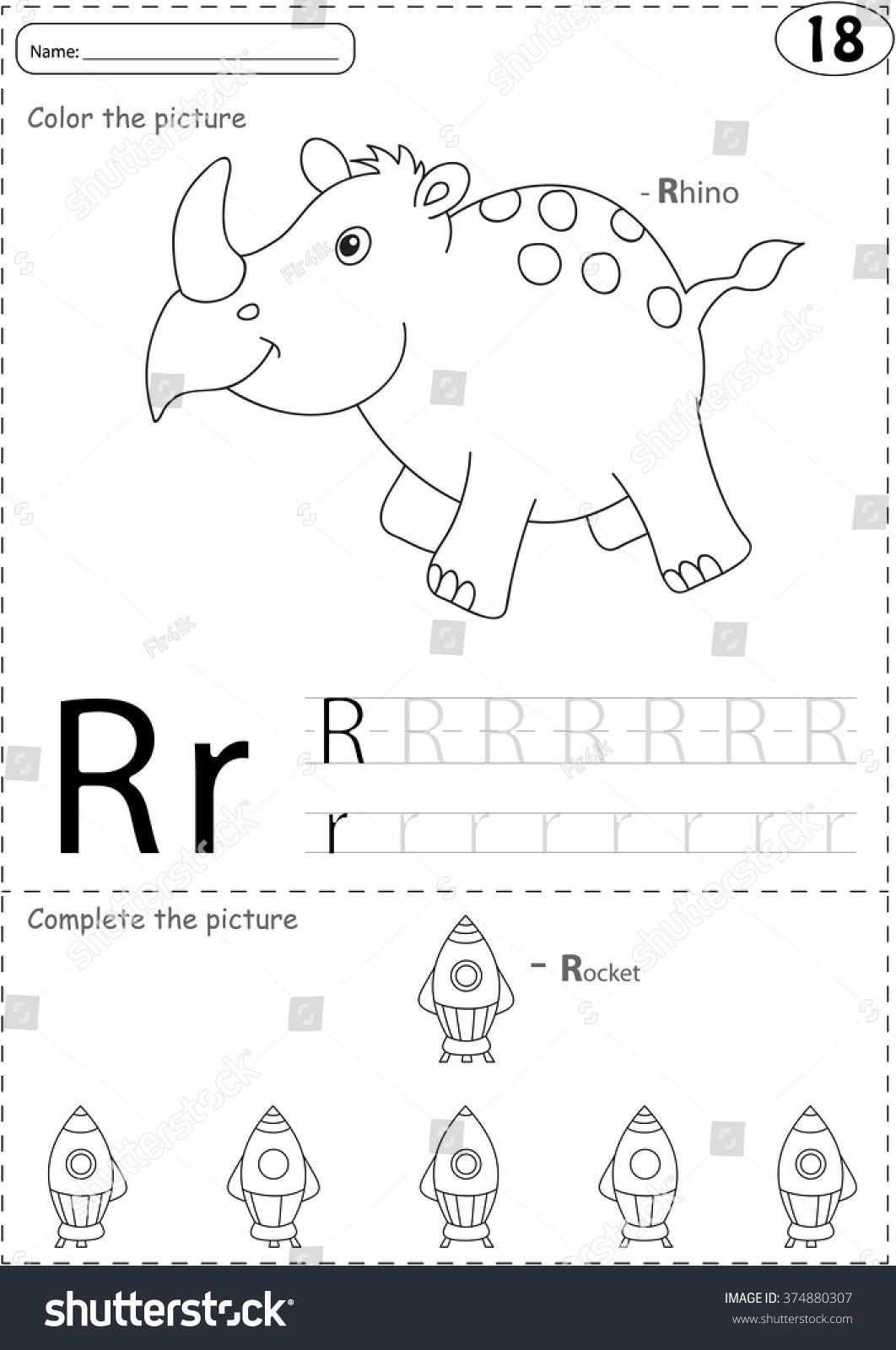 Cartoon Rhino And Rocket Alphabet Tracing Worksheet