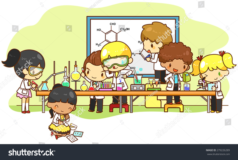 Cartoon Scientist Children Kid Studying Working Stock