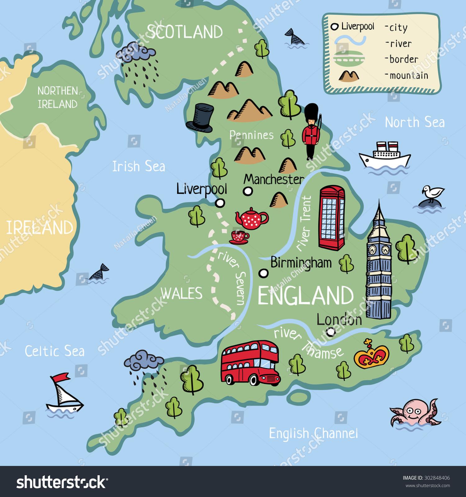 Cartoon Vector Doodle Map England Kids Stock Vector