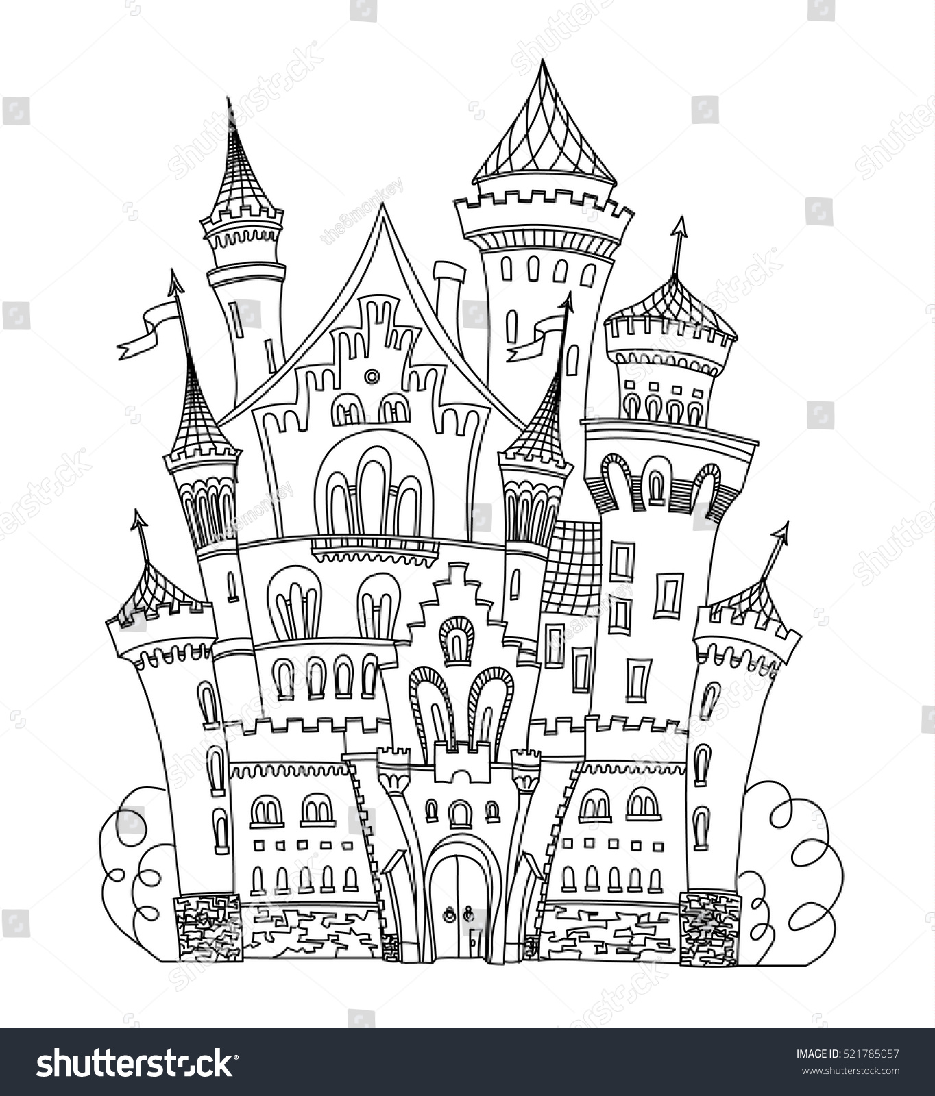 Castle Coloring Book Adults Children Vector Stock Vector