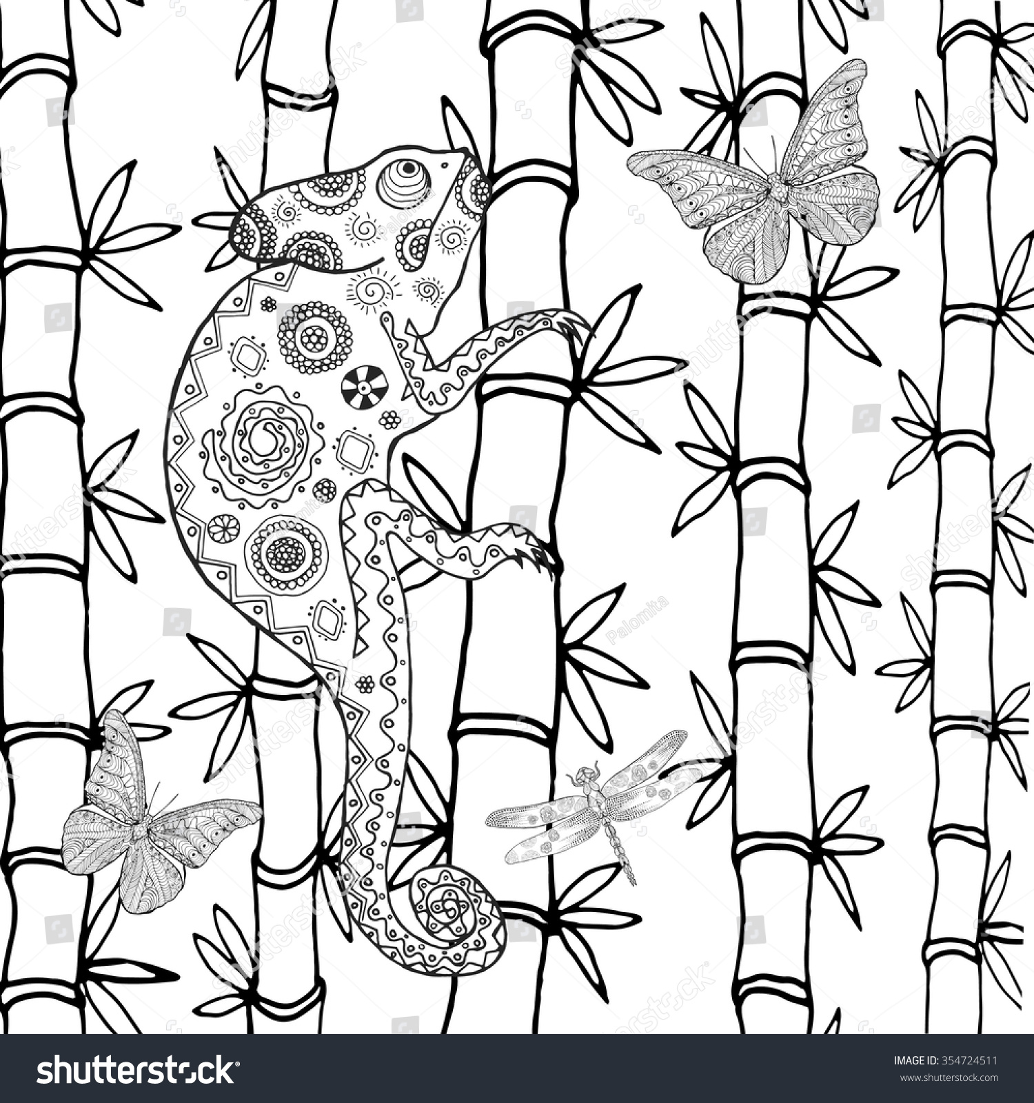 chameleon coloring page animals hand drawn doodle ethnic
