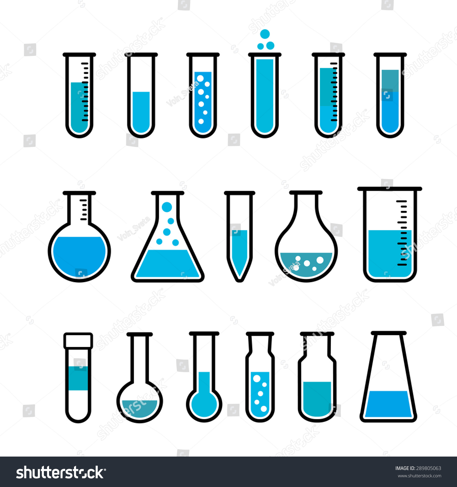 Chemical Beaker Icons Set Chemical Lab Stock Vector