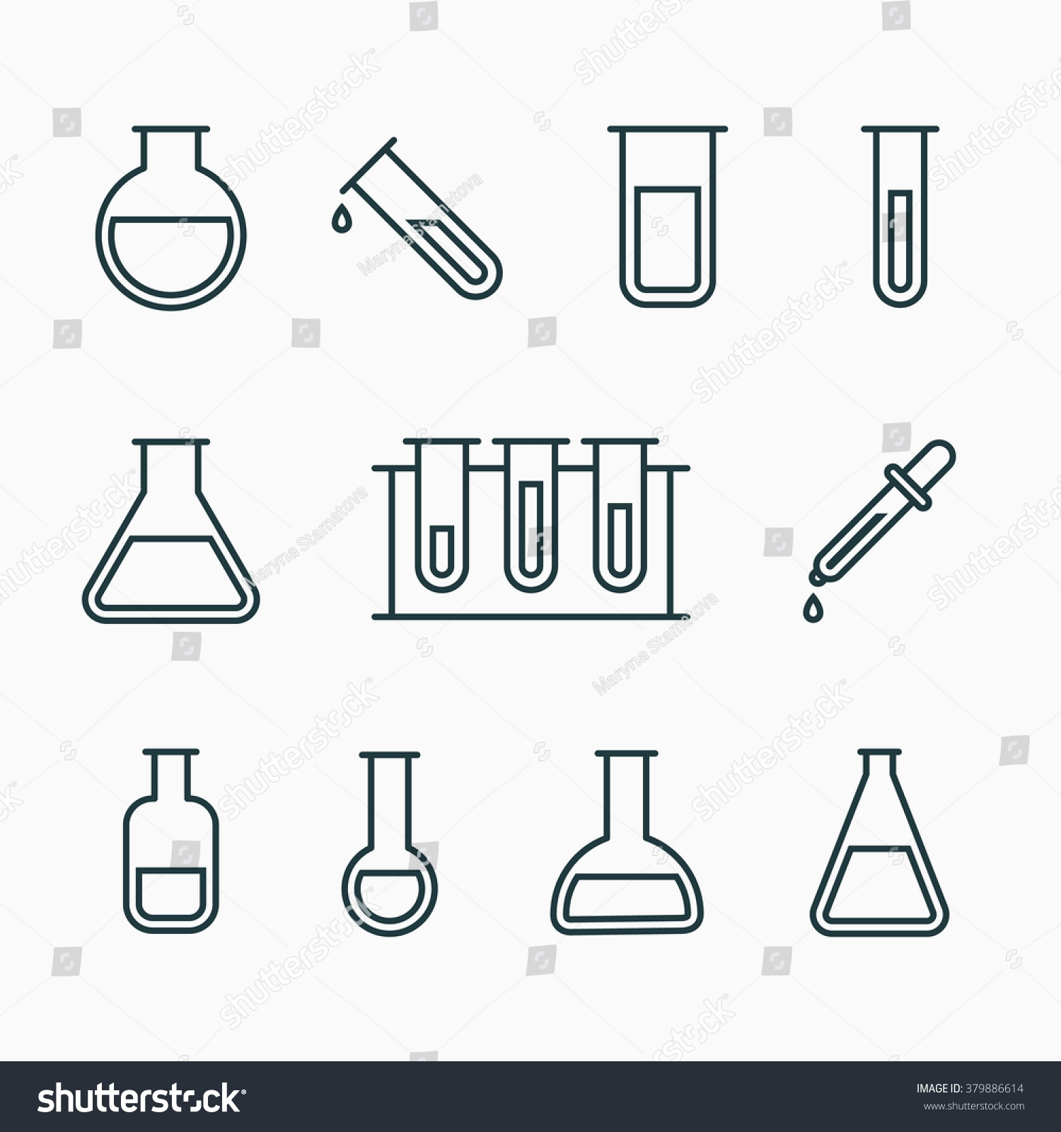Chemical Science Lab Equipment Test Tubes Stock Vector